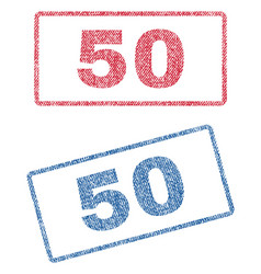 50 textile stamps vector