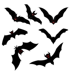 Flying Bats Set vector image