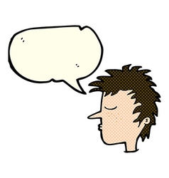 Cartoon male face with speech bubble vector