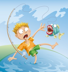 Horrible fishing accident vector