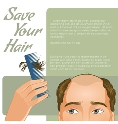 Background with man who has hair fall vector
