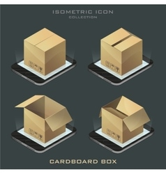 Set of dark isometric cardboard box vector
