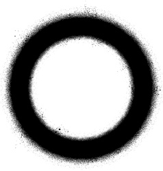 Graffiti sprayed circle design element in black vector