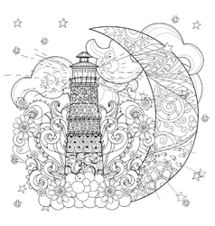 Cute lighthouse on christmas half moon vector