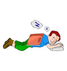 boy falling asleep while studying vector image vector image