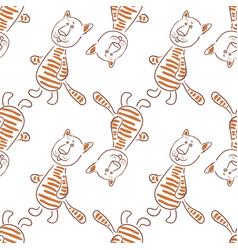 cartoon tiger contours seamless vector image