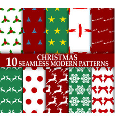christmas 10 seamless stylish modern patterns vector image vector image