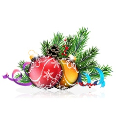 Christmas tree balls with blue and purple ribbons vector
