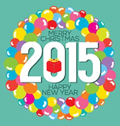 Colorful Balloon Bunch 2015 New Year Card vector image vector image