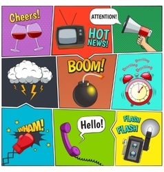 Comic Books Colorful Panels Design Set vector image