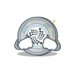 Crying iota coin character cartoon vector