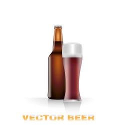 dark beer bottle and glass vector image