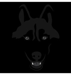 Dog in shadow siberian husky portrait vector