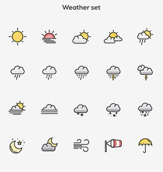 Flat line color icons Weather vector image