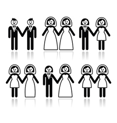 Gay and lesbian wedding - groom and bride icons se vector