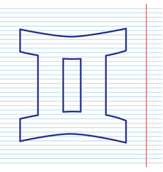 Gemini sign navy line icon on notebook vector