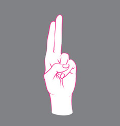 Gesture female hand with index and middle finger vector