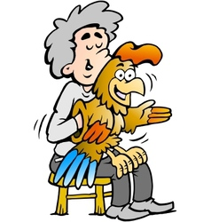 Hand-drawn of an A ventriloquist entertains with vector image vector image
