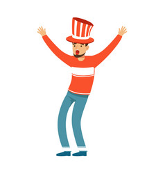Happy football fan character in red hat vector
