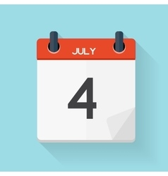 July 4 Calendar Flat Daily Icon vector image vector image