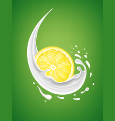 Milk splash with fresh lemon slice vector