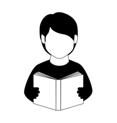 Monochrome man half body with book vector