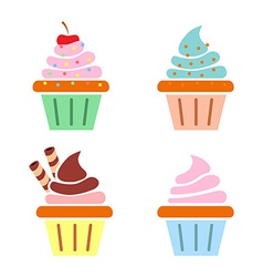 Muffin web icons Flat design vector image