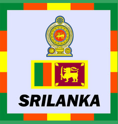 Official ensigns flag and coat of arm of srilanka vector