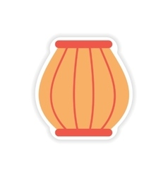 Paper sticker indian basket on white background vector
