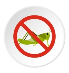 Prohibition sign grasshoppers icon flat style vector