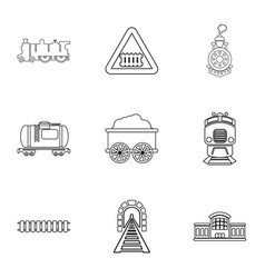 Railroad icons set outline style vector
