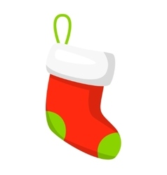 red Christmas stocking isolated on white vector image vector image