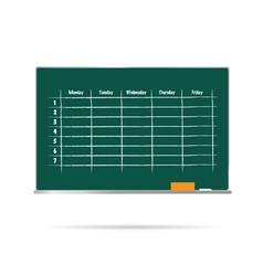 school timetable on blackboard with sponge and vector image