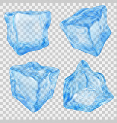 Set of transparent light blue ice cube vector