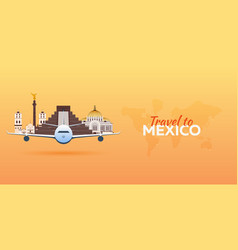 Travel to mexico airplane with attractions vector