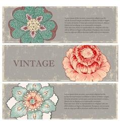 Vintage flowers banners set vector image