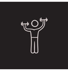 Man exercising with dumbbells sketch icon vector