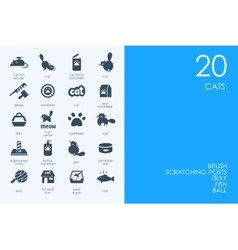 Set of blue hamster library cats icons vector