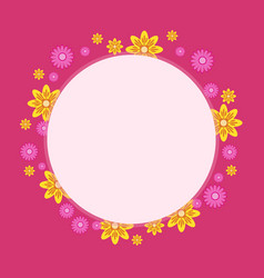 cute frame with flower on pink backgrounds vector image