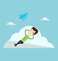 Business man lying on cloud vector