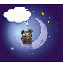 A bear with an empty callout leaning over the moon vector