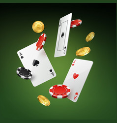 Falling cards coins and chips vector