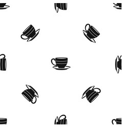 cup pattern seamless black vector image