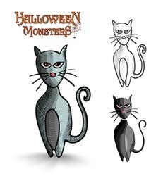 Halloween monsters scary cartoon black cat EPS10 vector image