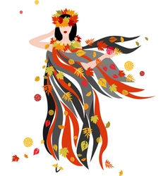 The women of autumn season vector