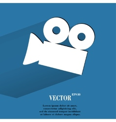 Video-camera flat modern web button with long vector