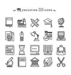 Set of lines education icons on white background vector