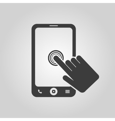 The click on the screen mobile phone vector