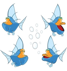 Set of cartoon cute deep-water fish vector