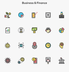 Flat line color icons business and finance vector